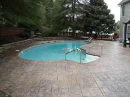 Ashlar stamp pool with sandstone integral and Nutmeg release
