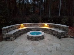 Gelfo firepit and seat wall