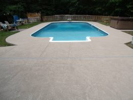 Overlay on pool with metal coping