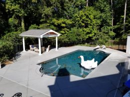 Pool patio with diamond saw cut joints