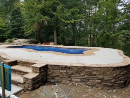 Pool patio with terra cotta coping