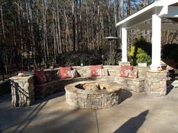 Seatwall with backrest and firepit