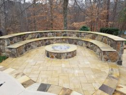 Sonia Firepit and seat wall
