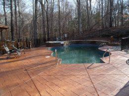 Stamped ashlar patio in terra cotta release