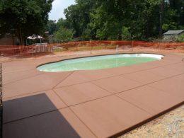 Terra Cotta broomed pool patio
