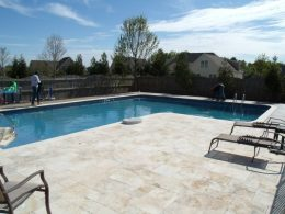 Travertine paver patio