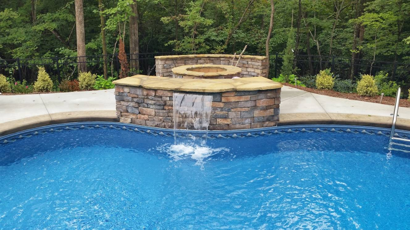Water feature and firepit
