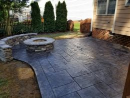dark gray stamped patio