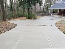 driveway broomed with paver inserts
