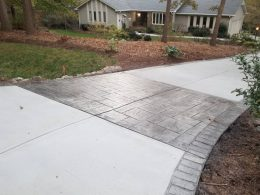 driveway with stamped border and strip
