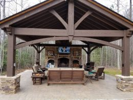 hardscapes pergola and fireplace