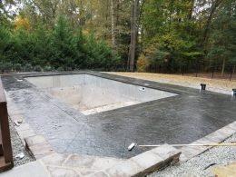 medium grey stamped pool with 4 foot diamond cuts