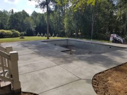 new broomed pool patio
