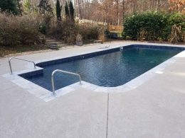 overlay with travertine coping