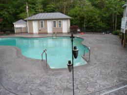 random stone stamped pool patio