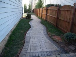 stamped ashlar slate walkway with stamped brick border 2