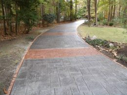 stamped driveway with terra cotta strips