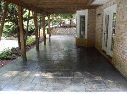 stamped patio in medium grey
