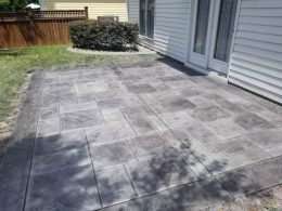 stamped patio with individually colored sections