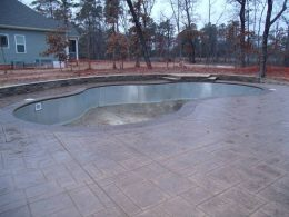 stamped patio with water feature