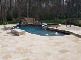 travertine pool patio in wake forest