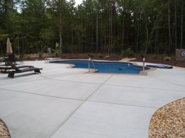 wake forest pool patio with cappicino stamped coping