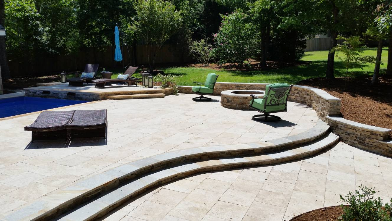 wall and firepit and masonry steps
